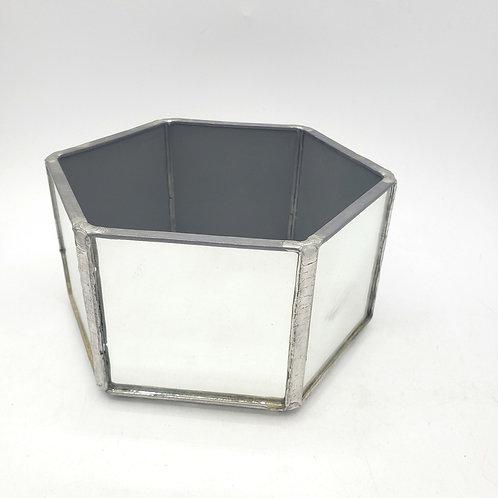 "Mirrored Open Jewelry Trinket Box Glass Bottom 6"""