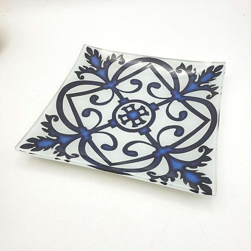 "Blue and Black Glass 6"" Trinket Dish"