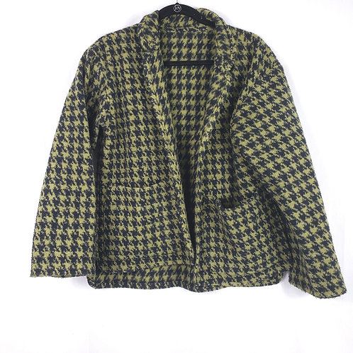 Green & Black Houndstooth Open Blazer - approx L