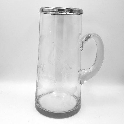 """Vintage Glassware Pitcher Silver Rim Etched Floral Design 11"""""""