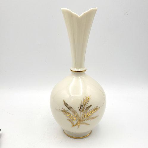 "Vintage Lenox Vase Gold Wheat Leaves Gold Trim 8""H"