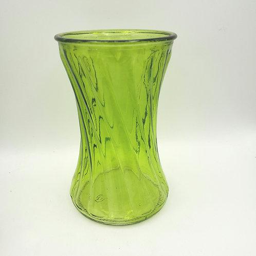 """Vintage Pressed Green Glass Vase 8"""""""