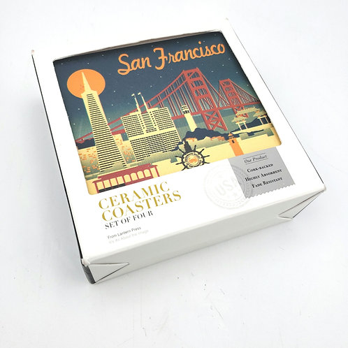 Lantern Press San Francisco Ceramic Coasters Cork Rest Set of 4 NEW