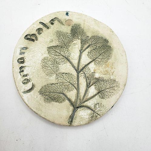 Handmade Ceramic Lemon Balm Ornament