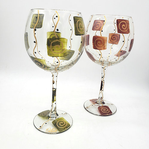 Gold Swirl on Olive/Amber Handpainted Wine Goblets(handwash) by Nella Set of 2