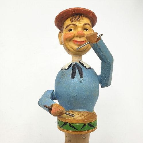 Vintage German Hand Carved Wood Puppet Cork Wine Bottle Stopper