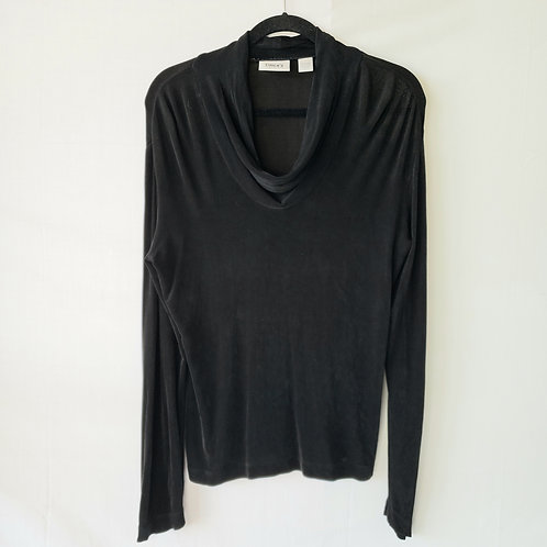 Chico's Travelers Black Cowl Neck Top - size 1
