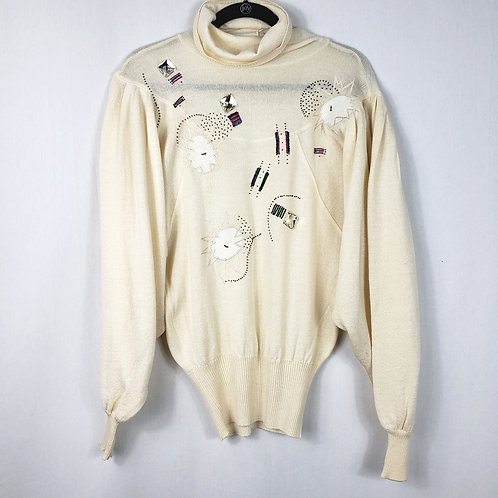 Marc D'alcy Paris Embellished Turtleneck Sweater - approx S/M