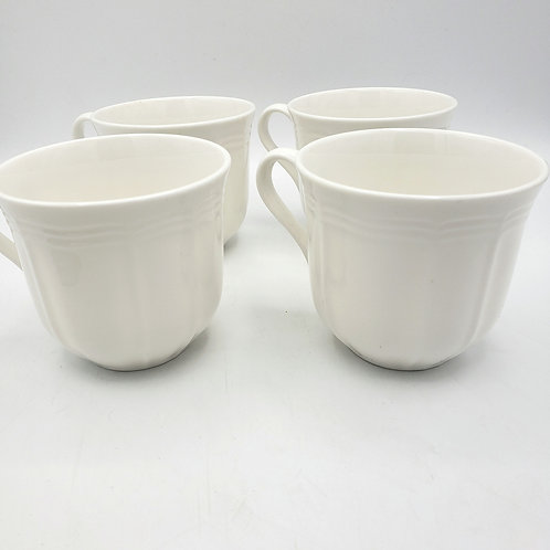 """Mikasa Ultima Plus Antique White 3 1/4"""" Mugs Dishwasher Safe Set of 4 LIKE NEW"""