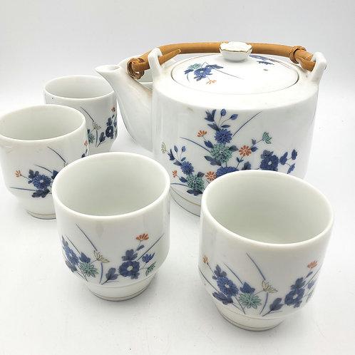 Vintage OMC Japan Porcelain Floral Tea Pot & Stack-able 5 Cup Set