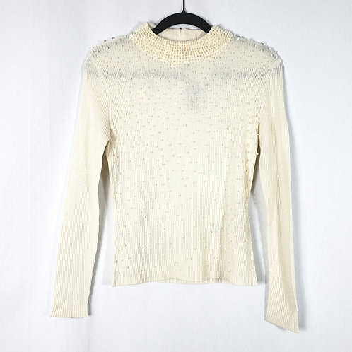 Belldini Off White Sweater with Pearls - M New
