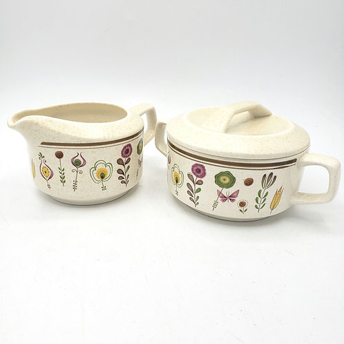 Vintage 1970's Temper-ware By Lenox Sprite Sugar & Creamer With Lid LIKE NEW