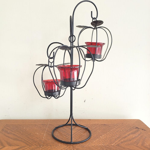 Decorative Hanging Apples Metal Stand with Tealight Candle Holders