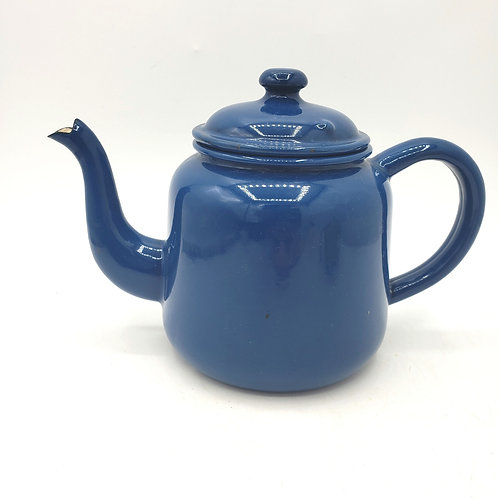 Vintage Single Cup Enamelware Blue Teapot Made in England Stamp