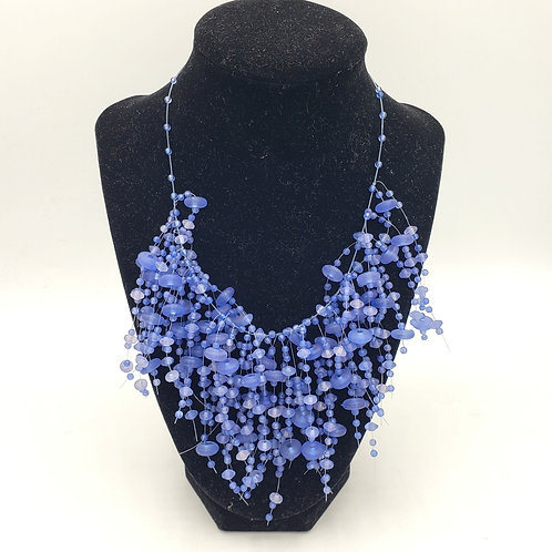 Blue Bead Statement Necklace