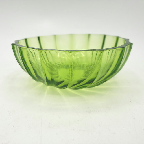 """Vintage Green Glass Small Bowl 4.5"""""""