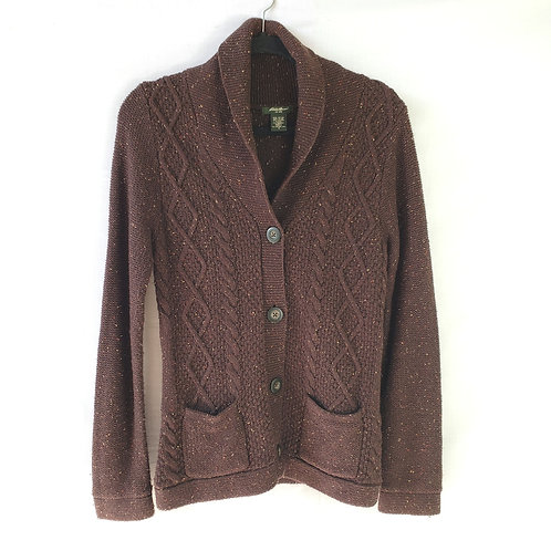 Eddie Bauer Brown Cable Knit Cardigan - S