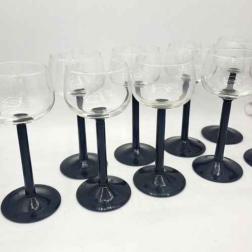 Vintage France Luminarc Tall Black Stem Cordial Sherry Port Wine Glasses 9 Set
