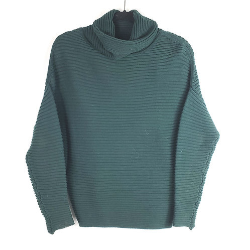 Katherine Barclay Green Ribbed Turtleneck Sweater - S