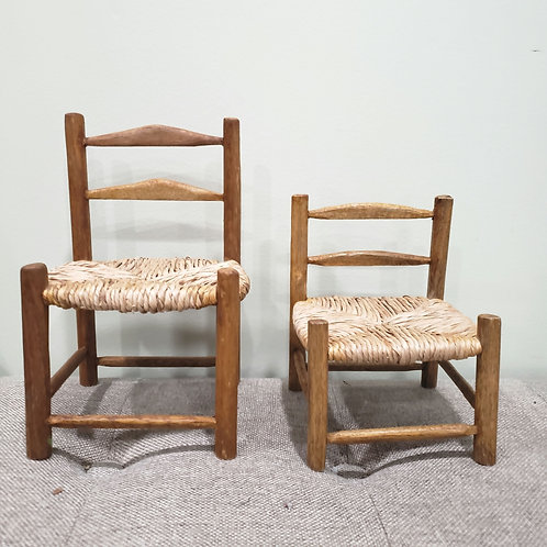 Vintage Wood Doll Chairs Set of 2