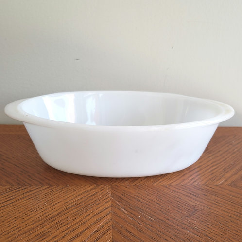 Vintage Glasbake Plain White 1 Quart Milk Glass Casserole Dish