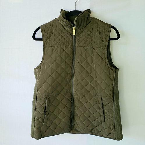 British Khaki Quilted Olive Green Vest - M
