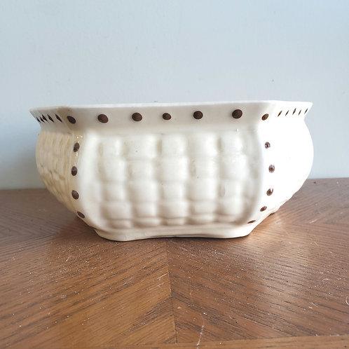 """Vintage Ceramic Basket Planter 5""""H 9""""W"""