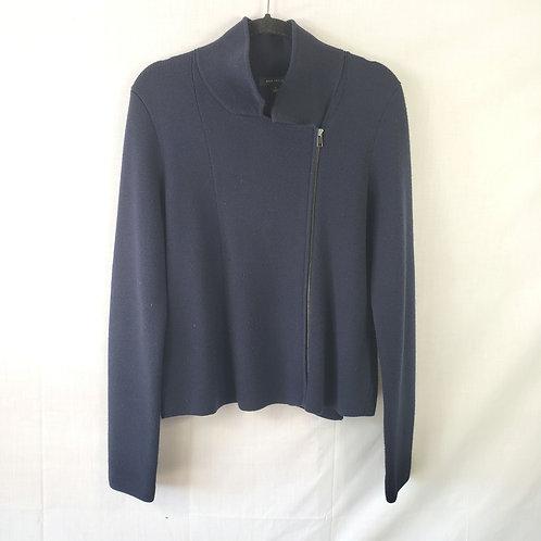 Ann Taylor Navy Blue Zip Sweater - L