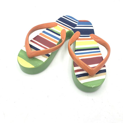 "Longaberger Pottery Ceramic Sunny Sandals Napkin weight 5"""