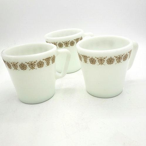 Pyrex Corningware Butterfly Gold Mugs Set of 3