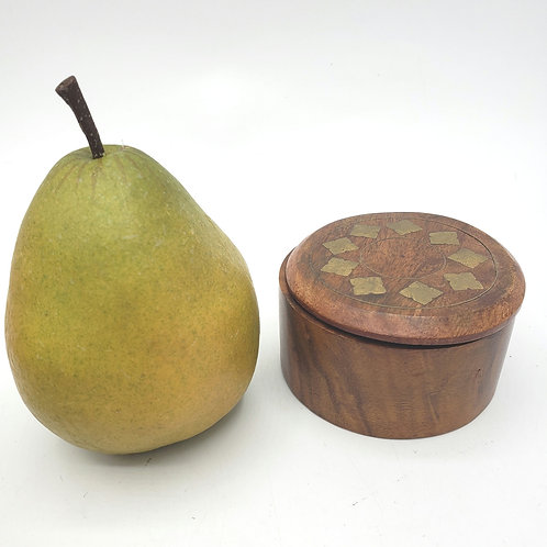 """Vintage 3"""" Wooden Round Trinket Jewelry Box with Etched Brass"""