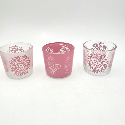 Glass Pink Candle Holders Set of 3