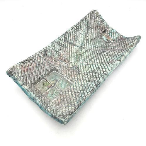 "Handmade Textured Slab Pottery Decorative Plate 4.5""x8"""