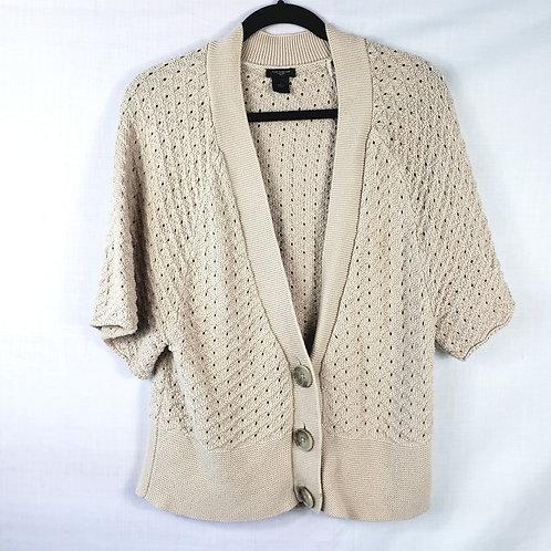 Ann Taylor Open Knit Tan Short Sleeve Cardigan - L