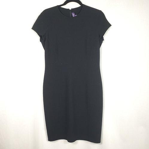 Ralph Lauren Purple Label Black Cap Sleeve Wool Dress - size 10