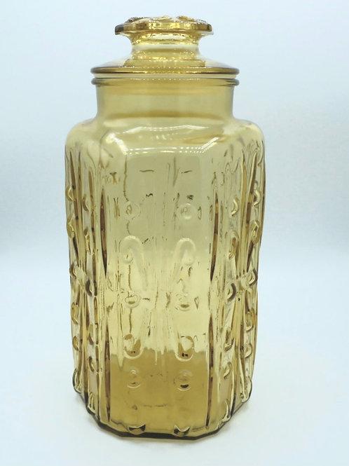 Vintage Amber Glass Canister