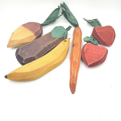 Decorative Handcarved Wooden Fruits and Vegetables
