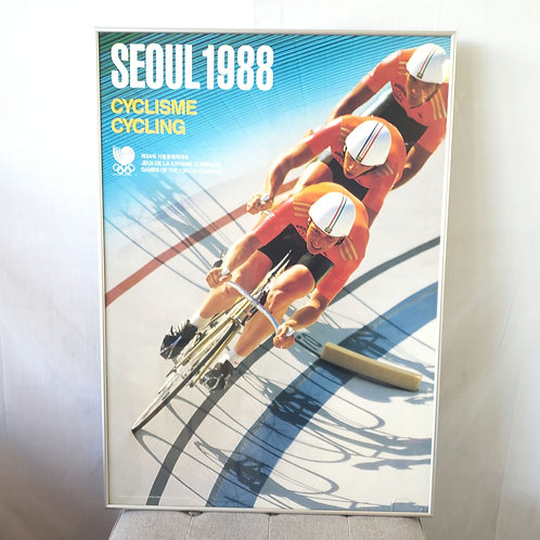 """Vintage Seoul 1988 Olympics Cyclisme Cycling Poster Framed 26""""x37"""""""