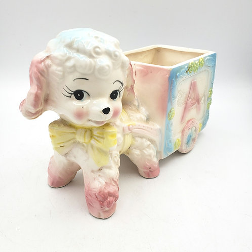 Vintage Relpo Baby Lamb Planter with Cart