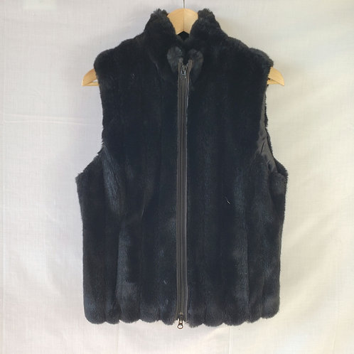 Liz Claiborne Black Faux Fur Vest - size 8