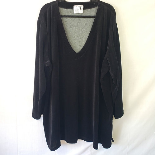 Ulla Popken Black Velour Oversized Fit Top - 28W/30W