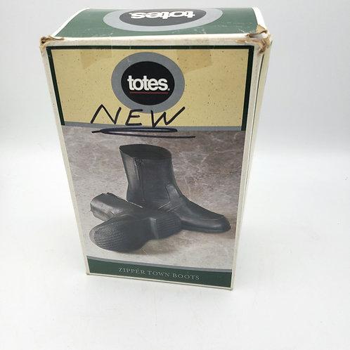 Totes Rubber Zipper Town Boots Rain Covers Mens XL 10.5-11.5