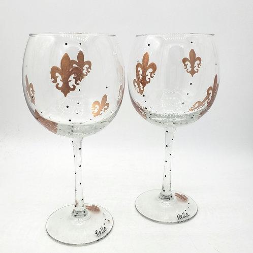 Fleur de Lis Handpainted Wine Goblets Handwash Set of 2