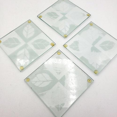 Glass Aspen Leaves Coasters Set of 4