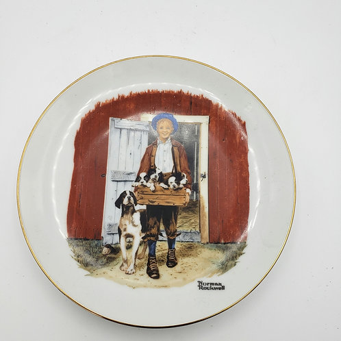 """Norman Rockwell Plate """"Puppy Love"""" 1985"""