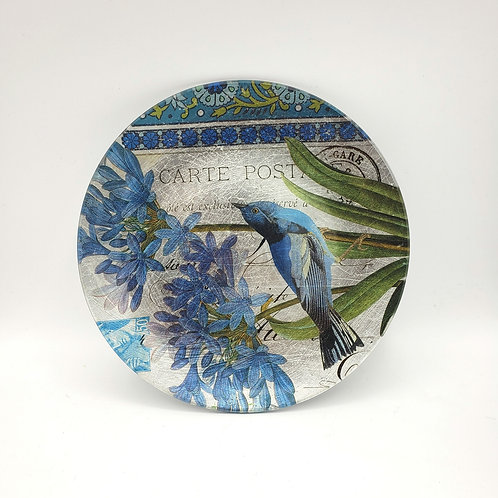 "Decorative Glass Plate Blue Bird 8.5"""
