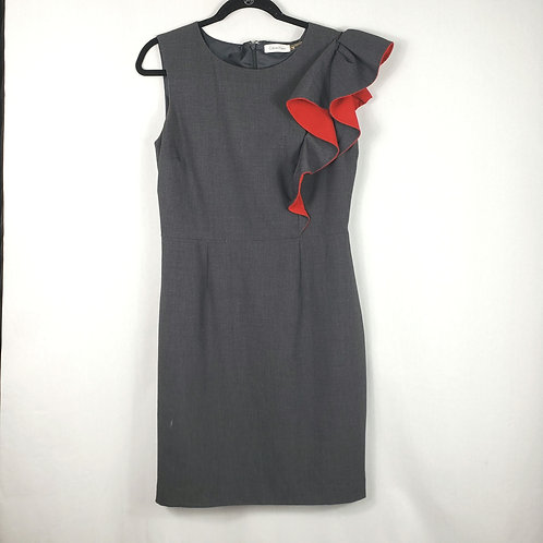Calvin Klein Gray Pencil Dress with Red Accent - size 8