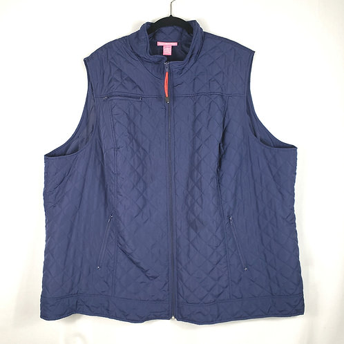 Woman Within Navy Quilted Vest - 4X