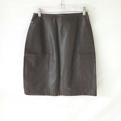 Vintage Savannah Brown Leather Pencil Skirt - size 6