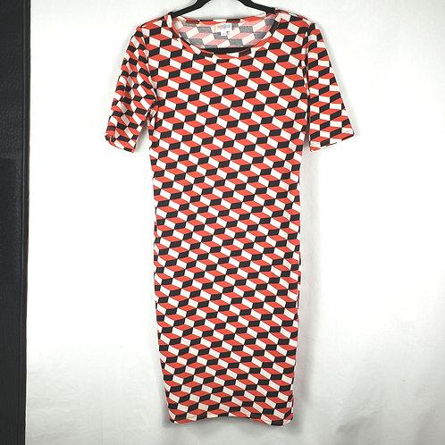 LulaRoe Black & Red Graphic Print Dress - S